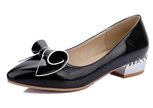 VogueZone009 Damen Pu Leder Rein Ziehen Auf Spitz Zehe Niedriger Absatz Pumps Schuhe Schwarz