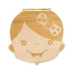 Holz Milchzähne Box Deutsch Version, Zahndose Milchzahndose Zahndöschen für Kinder, Geschenk für Jungen Mädchen von…