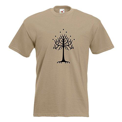 KIWISTAR - der Weiße Baum Gondors T-Shirt in 15 verschiedenen Farben - Herren Funshirt bedruckt Design Sprüche Spruch Motive Oberteil Baumwolle Print Größe S M L XL XXL Khaki
