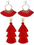 2 Pares de Pendientes de Borlas para Mujeres Chicas Pendientes Largos de Borla de 3 Niveles y Pendientes de Aro Dorado (Rojo)