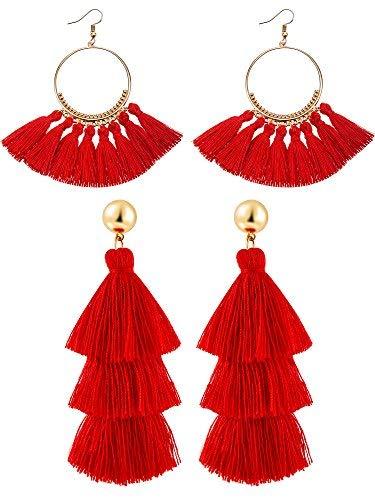 2 Paar Quaste Ohrringe für Frauen Mädchen Handarbeit 3 Tiered Quaste Baumeln Ohrringe und Gold Hoop Ohrringe (Rot) (Hoop Gold Ohrringe)