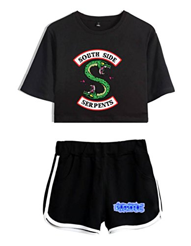 ZIGJOY Riverdale Crop Top T-Shirt e Shorts Abbigliamento Completo per Ragazze e Donne S