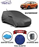 #6: Fabtec Waterproof Car Body Cover for Maruti Baleno New with Mirror Antenna Pocket Storage Bag & Microfiber Glove Combo