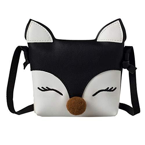 Frauen Handtasche Kinder Baby Mädchen Jungen Fox Umhängetasche Handtaschen Mini Crossbody Tasche Paket Schwarz