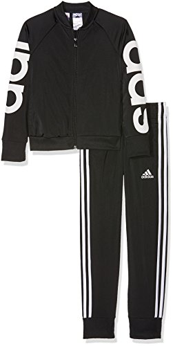 adidas Mädchen Linear Polyester Trainingsanzug, Top:Black Bottom:Black/White, 134