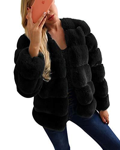 Donna pelliccia di faux giacca cappotto corto elegante parka cappotti maniche lunghe outwear nero m