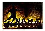 Schlummerlicht24 3d Led Holz Wandtattoo'Fussball Soccer Kicker' mit Name, Geschenk für Fußball-Fans, als Deko-Lampe
