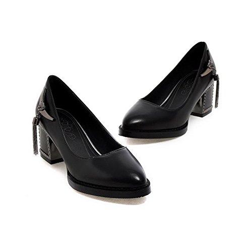 AllhqFashion Femme Tire Pointu à Talon Correct Pu Cuir Mosaïque Chaussures Légeres Noir