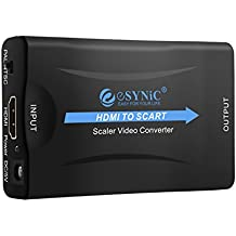 ESYNiC HDMI a SCART Convertidor de Euroconector HD Vídeo Compuesto Adaptador de Audio Estéreo para SKY HD Blu Ray DVD APPLE TV PS3