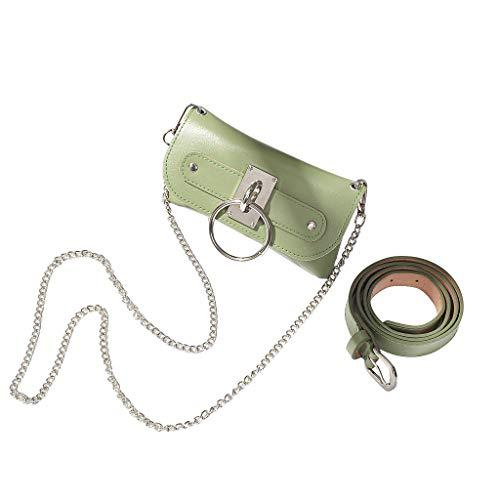 TAMALLU Damen Umhängetasche Schulter Leichte PU Brieftasche Einfarbig Kettenriemen Totes(Grün)
