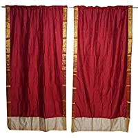 Mogul Interior Indian Sari Curtain Drape 2 Panel Maroon Window Treatment Brocade Border Studio Décor