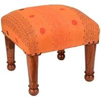 Indian Wooden Footstool Square Wood Foot Stool With Cotton Kantha Work Size 17 X 12 Inches preisvergleich bei kinderzimmerdekopreise.eu