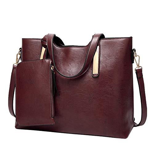 (PU Weibliche Tasche Einfache Mode Damen Handtasche große kapazität Einzelnen Schulter Messenger Box G-Kaffee Farbe)