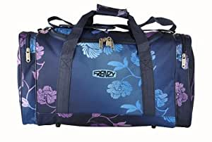 Frenzy® world's lightest (only 0.5kg!) Cabin Size holdall -fits Ryan Air/Easy Jet 55 x 40 x x 20 -flight bag. Actual dimension 54x30x20, Massive 32l Capacity (Navy Floral)
