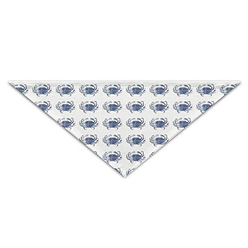 Wfispiy Ocean Blue Crab Art Dog Bandanas Scarves Triangle Bibs Scarfs Cool Basic Neckerchief Cat Collars Pet Costume