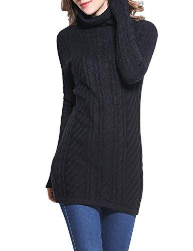 Pull col roulé pour femme Rocorose, tricot à manches longues -  Noir - L
