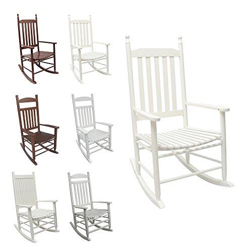 SCHAUKELSTUHL Relaxsessel aus Massivholz / Holz - in weiß o. braun - Wippstuhl Rocking Chair Schwingstuhl im Landhausstil (Sandro, weiß)