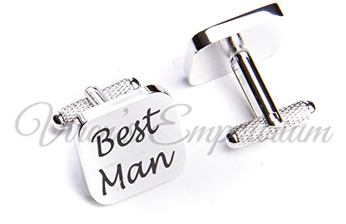 SQUARE SILVER mens wedding cufflinks cuff link Groom best man usher page gift 06 (BEST MAN)