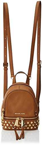 Michael Kors - Rhea Zip, Bolsos maletín Mujer, Brown (Acorn), 8.5x21x17 cm (W x H L)