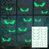 EROSPA® - Aufkleber Augen - Leuchtend - Glow in The Dark für Halloween Fenster-Aufkleber - Wandaufkleber Dekoration Wanddeko Party Türdeko - grün