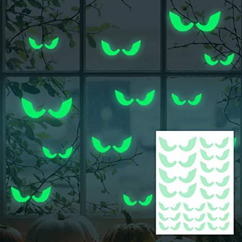 (EROSPA® - Aufkleber Augen - Leuchtend - Glow in The Dark für Halloween Fenster-Aufkleber - Wandaufkleber Dekoration Wanddeko Party Türdeko - grün)