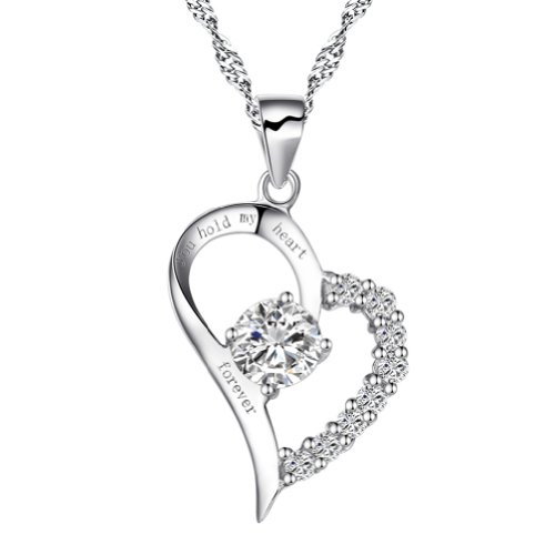 """Chaomingzhen Women Cubic Zirconia Sterling Silver """"You Hold My Heart Forever""""Heart Pendant Necklace"""