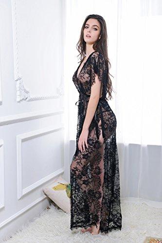 Lukis Damen Lange Kleid Dessous Reizwäsche mit G-string Erotik Tief V Nachtkleid Spitzen Babydoll Schwarz