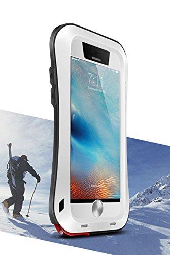 Aluminium Schutzhülle für Apple iPhone 6S, Marke Love Mei [Curve Stil] Wasserdicht, stoßfest Silikon Hybrid Metall mit Gorilla Glas Displayschutzfolie * 2Jahre Garantie * weiß