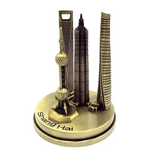 Fugeges Dekoration Wohnung Modern Tourist Souvenir Oriental Pearl Jinmao Tower World Financial Center Metal Building Model Decoration 18Cm -