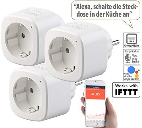 Luminea Home Control Alexa Steckdosen: 3er-Set WLAN-Steckdosen, Energiekostenmesser, App, mit Sprachsteuerung (Alexa Zubehör)