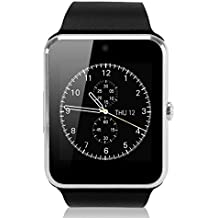 GSTEK Reloj Inteligente Bluetooth Smart Watch Teléfono Inteligente Pulsera con Cámara Pantalla Táctil Soporte SIM / TF para Android Samsung HTC LG Huawei Sony Reloj Deportivo (Plata)