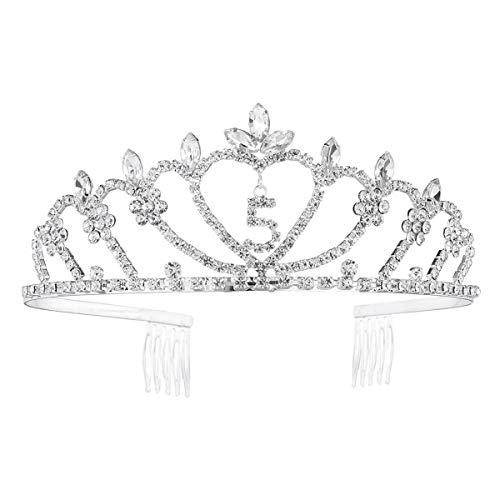 Lurrose Krone 5. Geburtstagskrone Diademe mit Kamm Strass Prinzessinkrone Stirnband für Frauen (Silber)