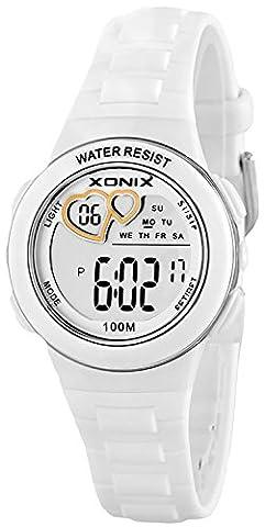 XONIX Montre numérique avec des cœurs sur écran, Femme et fille, wr100m, xdm62K/9