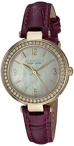 Bulova Caravelle 44L176 Women's New York White MOP Dial Purple Leather Strap Crystal Watch