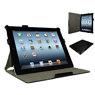 Adento iPad 4 Hülle & iPad 3 Hülle | Smart Cover aufstellbar | Handschlaufe & Stylus-Halterung Luxus Leder für Apple Tablet 9 7 Zoll | Original Marken-Design | Schwarz