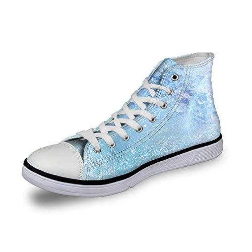 Blue Canvas Shoes Mens Winter Hi Top Sneakers Personality Walking Plimsolls Cool Light Blue CC4103AK UK 7