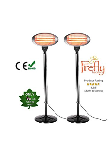 Set of 2 Firefly 2kW Outdoor Freestanding Electric Quartz Bulb Garden Patio Heaters - 3 Power Settings
