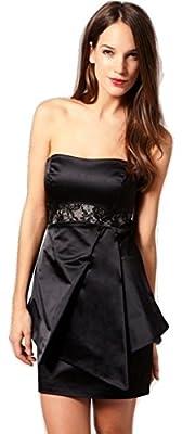 Karen Millen Lace Panel Peplum Strapless Cocktail Dress