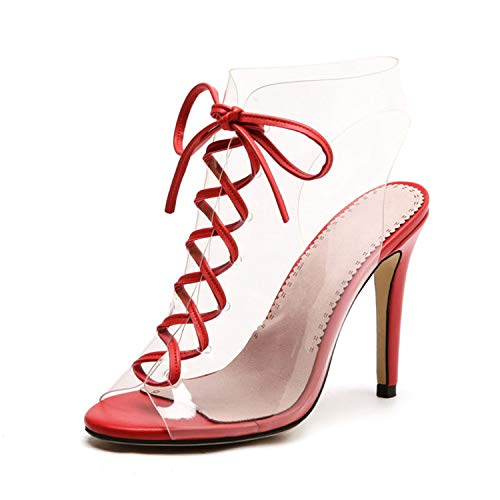 TRFLH& Spring Summer Fashion Thin High Heels Sexy Ankle Strap Sandals Women Transparent PVC Lace-Up Shoes Gladiator Women Shoes Red 4