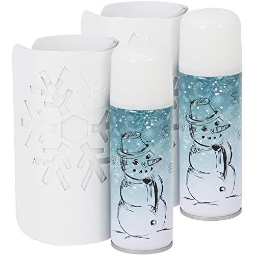 com-four® 14-teiliges Schneespray Set, Kunstschnee mit verschiedenen Schablonen zum Dekorieren zu Weihnachten (14-teilig - Spray mit Schablonen)