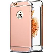Funda para Apple iPhone 6 plus y 6S plus (5,5 pulgadas) 3 en 1 a prueba de golpes, extremamente delgada Funda protectora de parachoques trasero para Apple iPhone 6plus y 6S plus oro rosa
