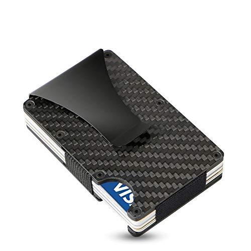 Semlimit SEMLIMIT Kartenetui Carbon schwarz | Kreditkartenetui mit Geldklammer RFID Schutz | Slim Wallet für 1 bis 15 Karten - Herren | Gratis E-Book