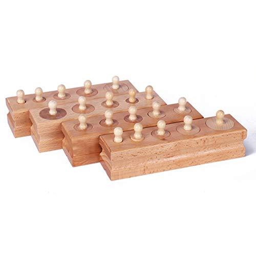Monllack Hölzerne Mathe Spielzeug Montessori Spielzeug Lernspiele Zylinder Sockel Blöcke Hölzerne Mathe Spielzeug Eltern-Kind-Interaktion (Block Sockel)