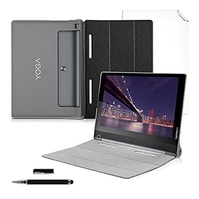 kwmobile 3in1 Set: Smart Cover Case mit Transparenter Rückseite für Lenovo YOGA Tablet 3-10 mit Ständer