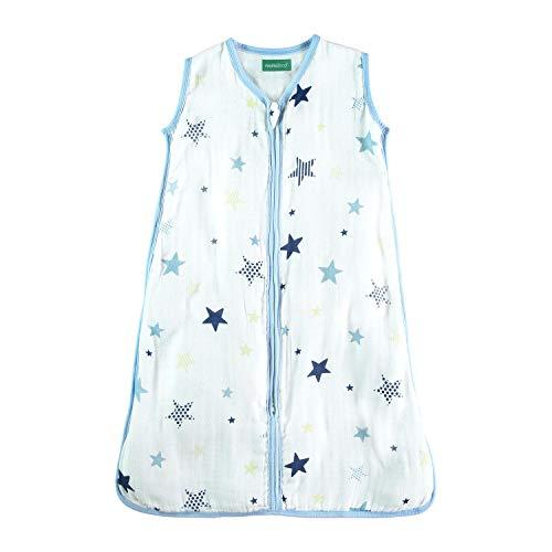 molis&co. Babyschlafsack aus Premium-Musselin. Superweich und leicht. 6 bis 18 Monate. 90 cm. TOG 0.5. Ideal für den Sommer. Unisex-Sternendruck in Blau- und Beigetönen.