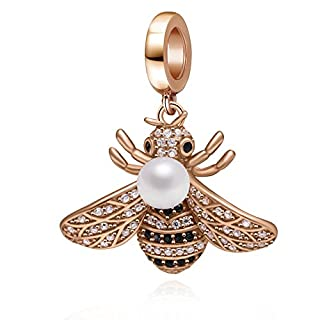 Rose Gold Bee Charms 925 Sterling Silver Insect Animal Dangle Charm with Clear Cz for 3mm Snake Chain Bracelet (White)
