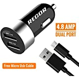 Regor [4.8Amp - 2 Port] High Speed Car Charger for All Smartphones & Tablets + Free Micro USB Cable
