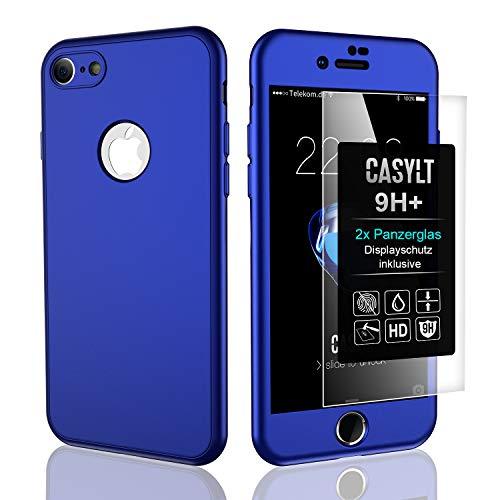 CASYLT [kompatibel für iPhone 6 Plus & 6s Plus] 360 Grad Fullbody Soft-Case Hülle [inkl. 2X Panzerglas] Komplettschutz TPU Handyhülle in Blau - Case Soft Iphone 6