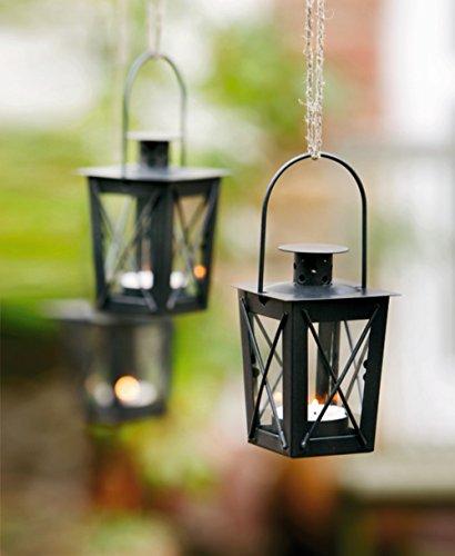 2er Set Mini Laternen aus Metall + Glas, schwarz, Teelichthalter, Windlicht