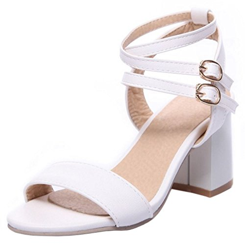 COOLCEPT Damen Elegant Kreuz Riemchen Sandalen Blockabsatz Schuhe White